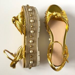 GUCCI GOLD LEATHER ESPADRILLES - BRAND NEW IN BOX!